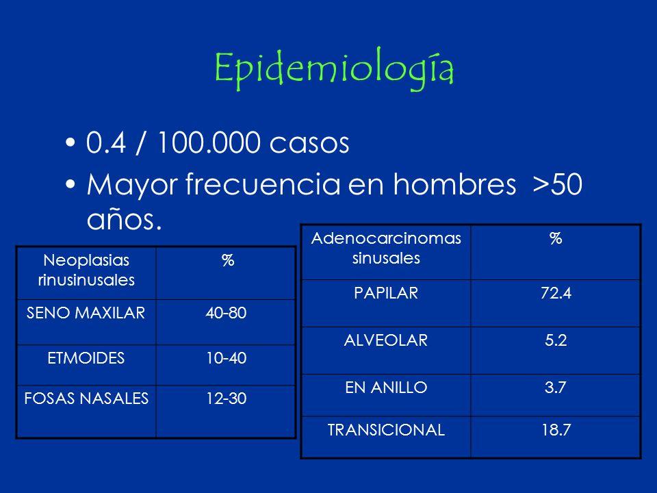 Epidemiología 0.4 / 100.000 casos. Mayor frecuencia en hombres >50 años. Adenocarcinomas sinusales.