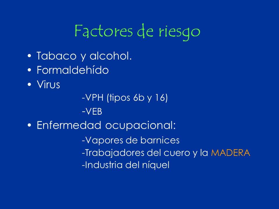 Factores de riesgo Tabaco y alcohol. Formaldehído Virus -VEB