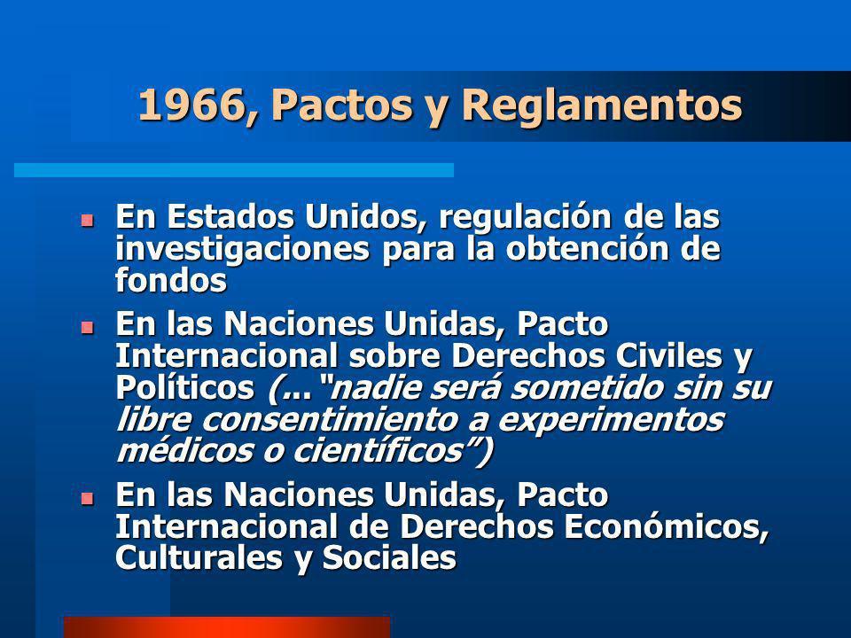 1966, Pactos y Reglamentos En Estados Unidos, regulación de las investigaciones para la obtención de fondos.