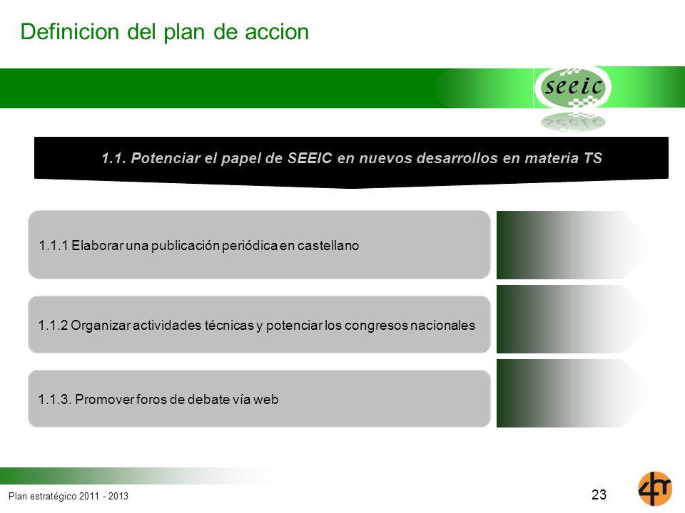 1.1. Potenciar el papel de SEEIC en nuevos desarrollos en materia TS
