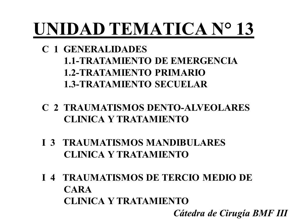UNIDAD TEMATICA N° 13 C 1 GENERALIDADES 1.1-TRATAMIENTO DE EMERGENCIA