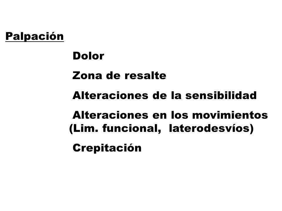 Palpación Dolor. Zona de resalte. Alteraciones de la sensibilidad. Alteraciones en los movimientos (Lim. funcional, laterodesvíos)