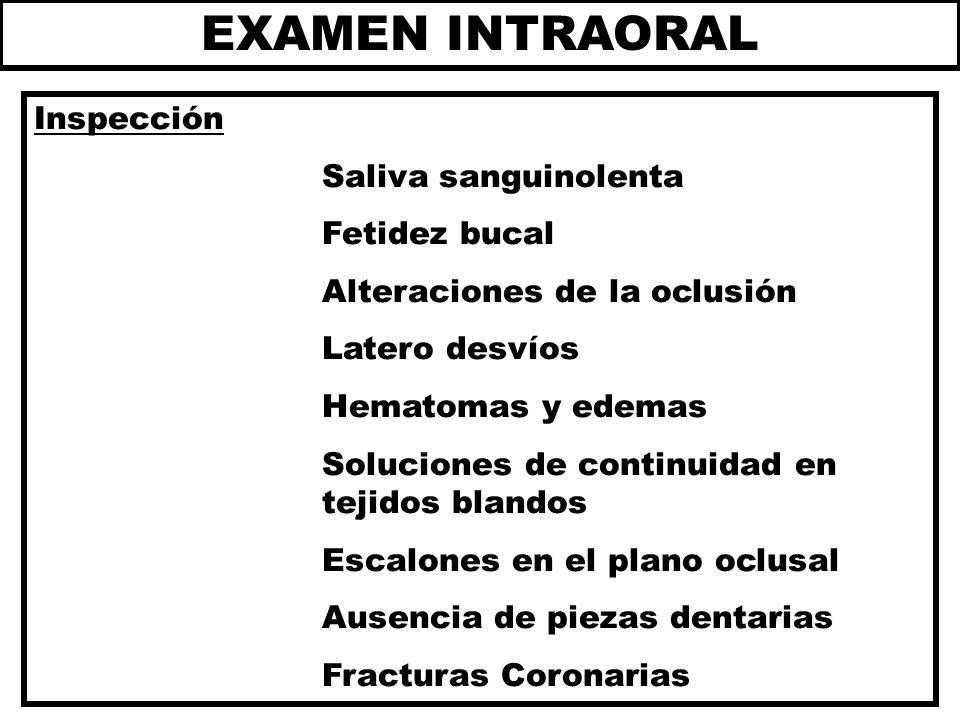 EXAMEN INTRAORAL Inspección Saliva sanguinolenta Fetidez bucal