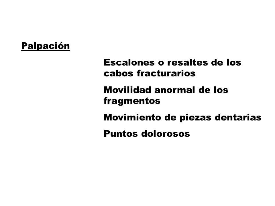 Palpación Escalones o resaltes de los cabos fracturarios. Movilidad anormal de los fragmentos.
