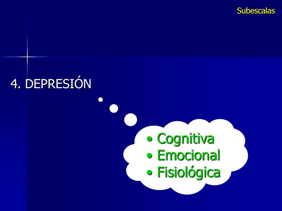 Subescalas 4. DEPRESIÓN Cognitiva Emocional Fisiológica