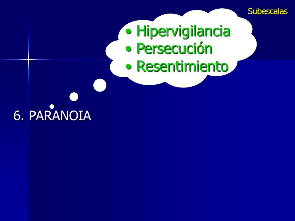 Subescalas Hipervigilancia Persecución Resentimiento 6. PARANOIA