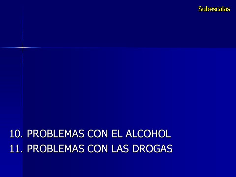 10. PROBLEMAS CON EL ALCOHOL 11. PROBLEMAS CON LAS DROGAS