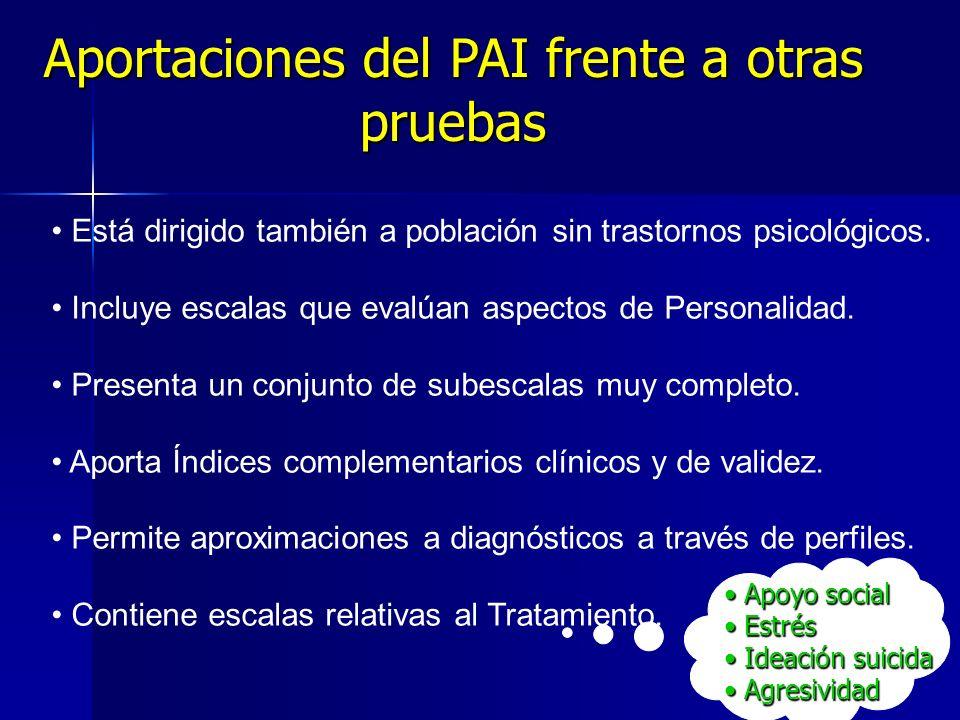 Aportaciones del PAI frente a otras pruebas