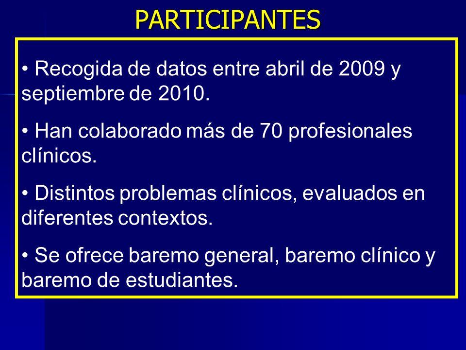 PARTICIPANTES Recogida de datos entre abril de 2009 y septiembre de 2010. Han colaborado más de 70 profesionales clínicos.