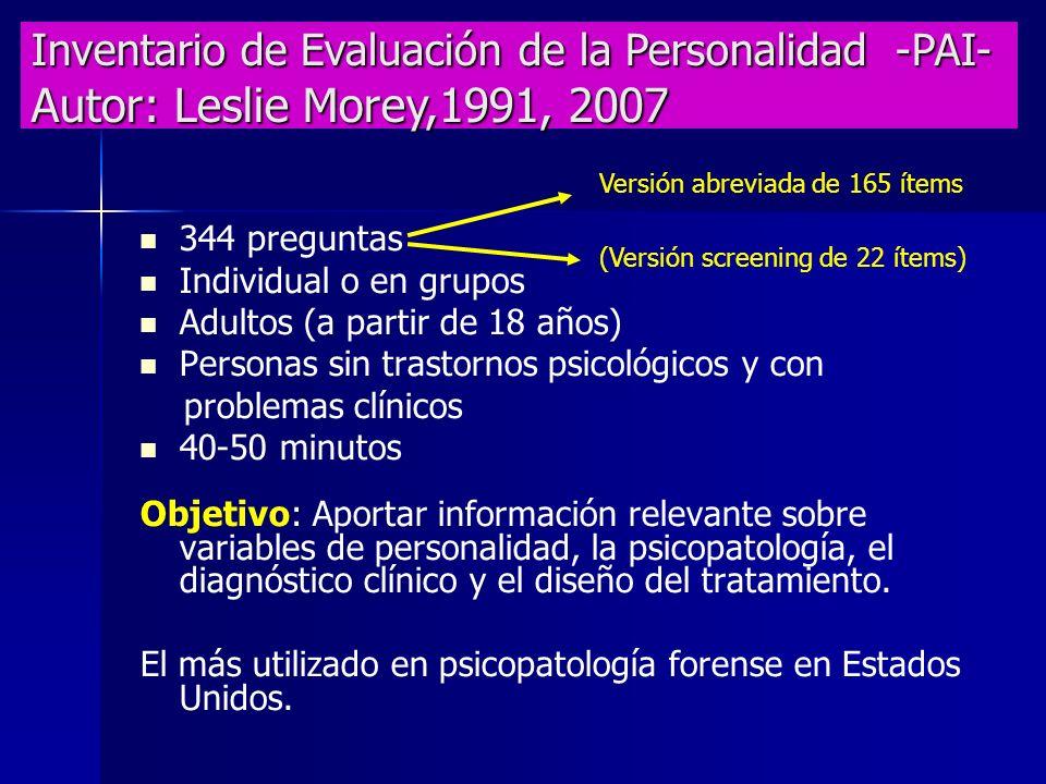 Inventario de Evaluación de la Personalidad -PAI- Autor: Leslie Morey,1991, 2007