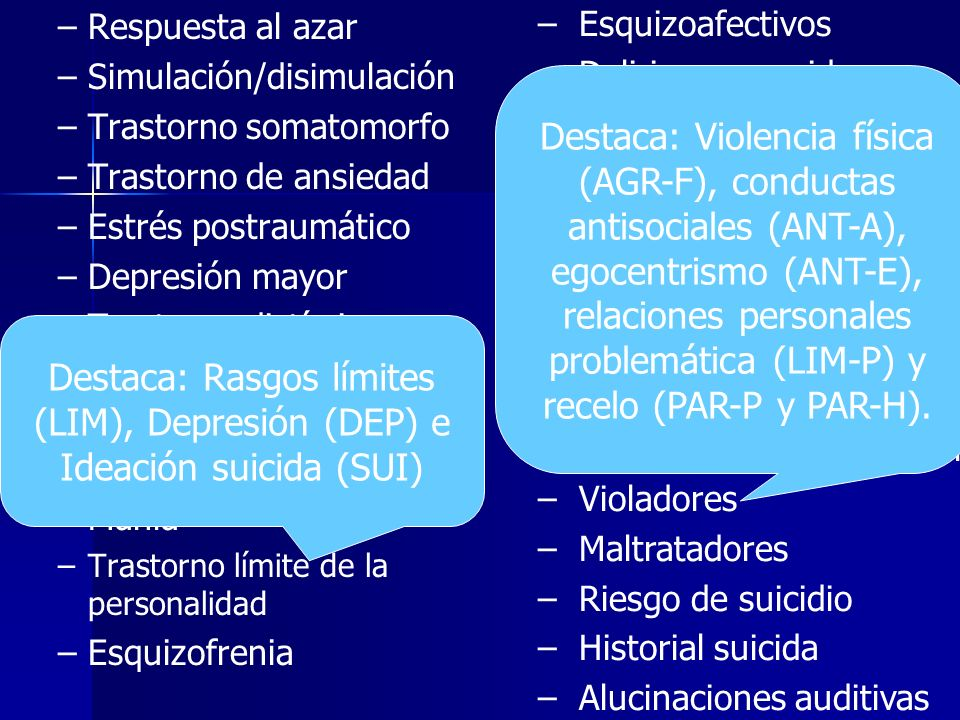 Respuesta al azar Simulación/disimulación. Trastorno somatomorfo. Trastorno de ansiedad. Estrés postraumático.