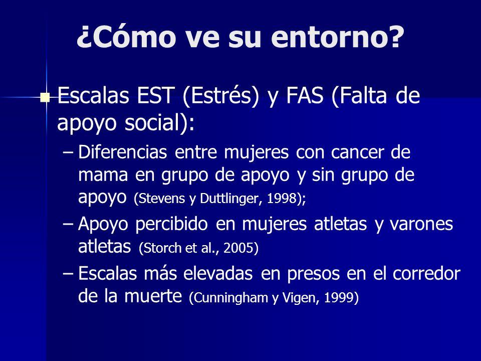 ¿Cómo ve su entorno Escalas EST (Estrés) y FAS (Falta de apoyo social):