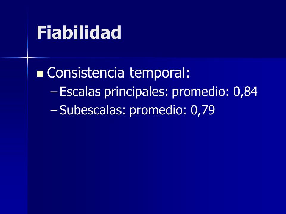 Fiabilidad Consistencia temporal: Escalas principales: promedio: 0,84