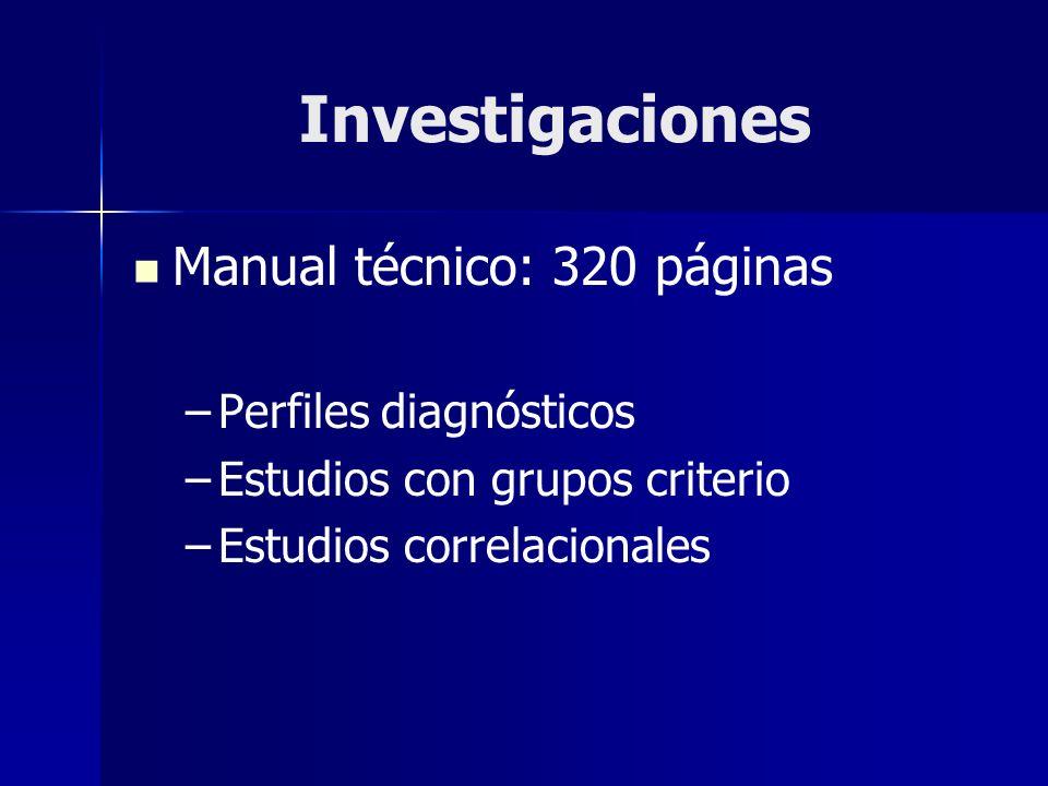 Investigaciones Manual técnico: 320 páginas Perfiles diagnósticos