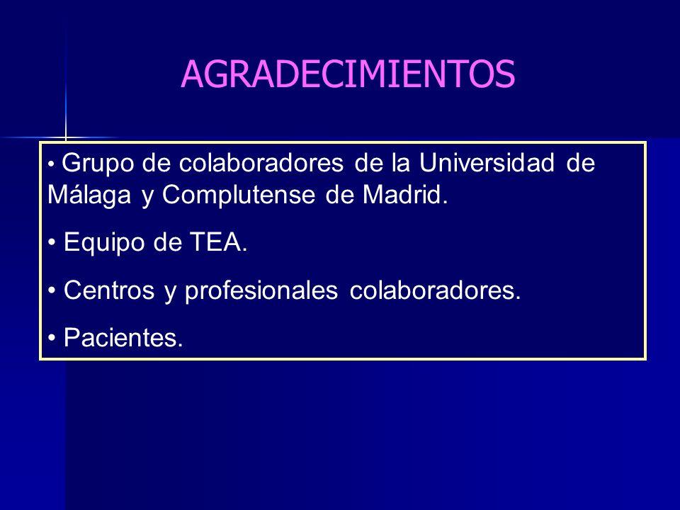 AGRADECIMIENTOS Equipo de TEA. Centros y profesionales colaboradores.