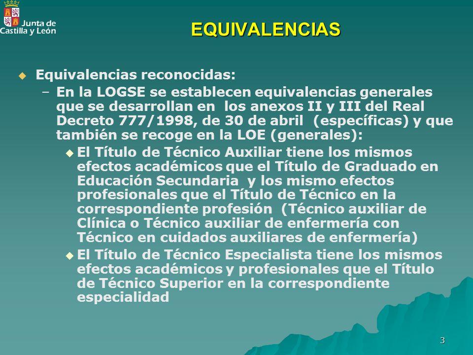 EQUIVALENCIAS Equivalencias reconocidas: