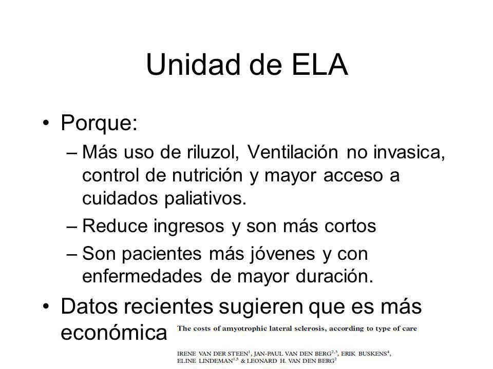 Unidad de ELA Porque: Datos recientes sugieren que es más económica