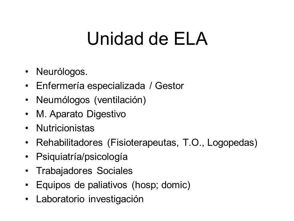Unidad de ELA Neurólogos. Enfermería especializada / Gestor