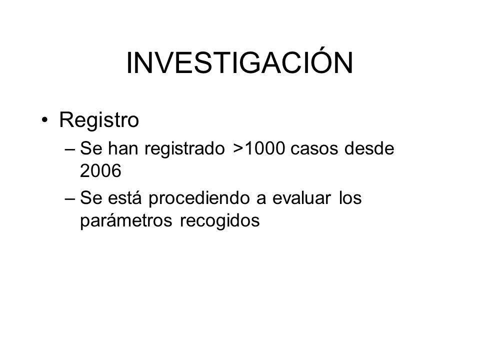 INVESTIGACIÓN Registro Se han registrado >1000 casos desde 2006