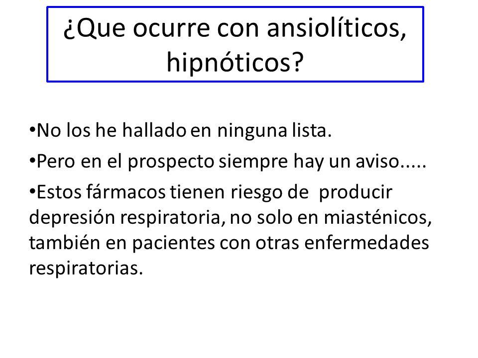 ¿Que ocurre con ansiolíticos, hipnóticos