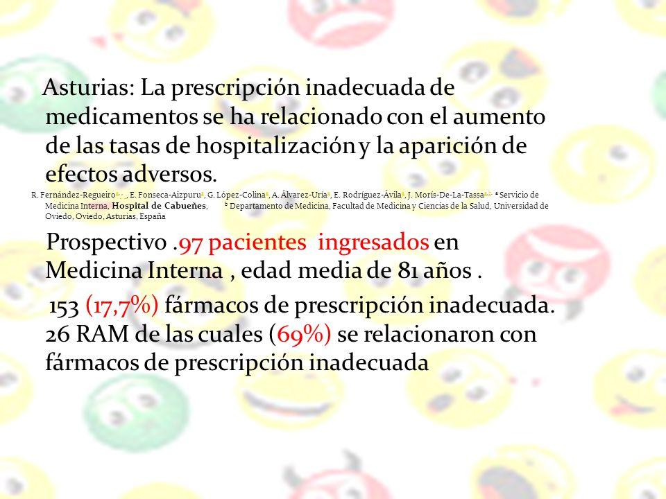 Asturias: La prescripción inadecuada de medicamentos se ha relacionado con el aumento de las tasas de hospitalización y la aparición de efectos adversos.