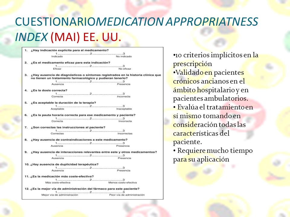 CUESTIONARIOMEDICATION APPROPRIATNESS INDEX (MAI) EE. UU.