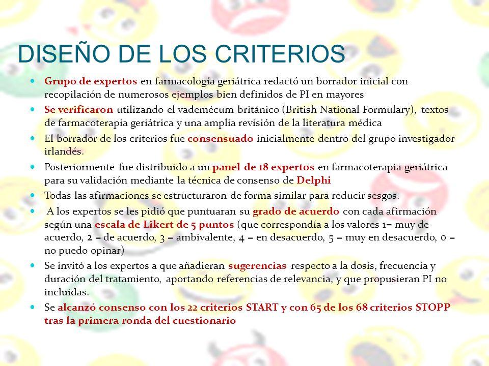 DISEÑO DE LOS CRITERIOS