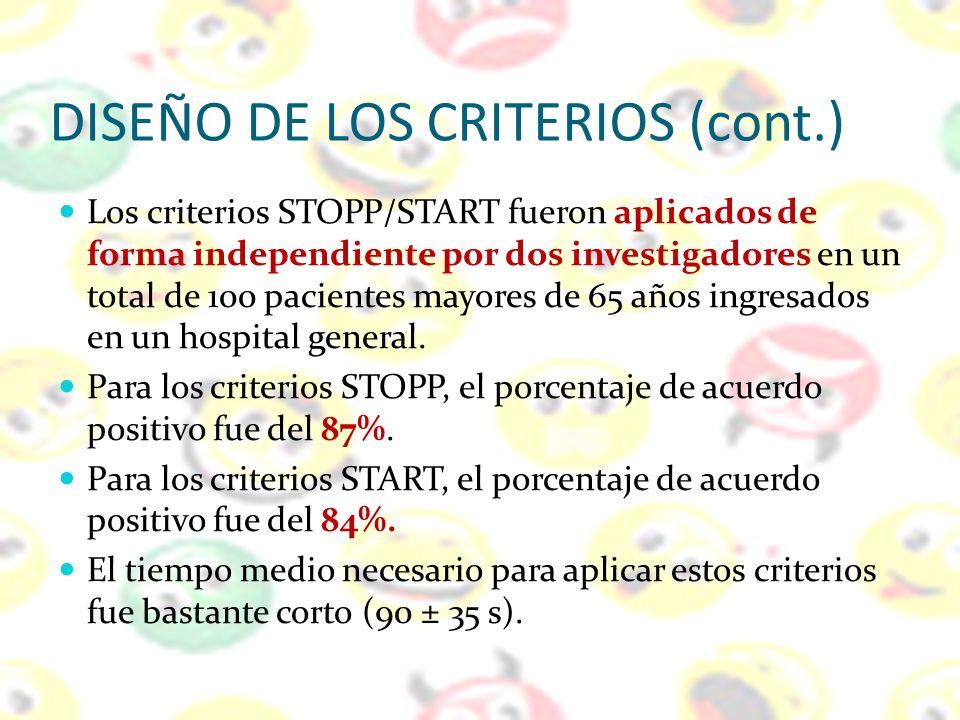 DISEÑO DE LOS CRITERIOS (cont.)