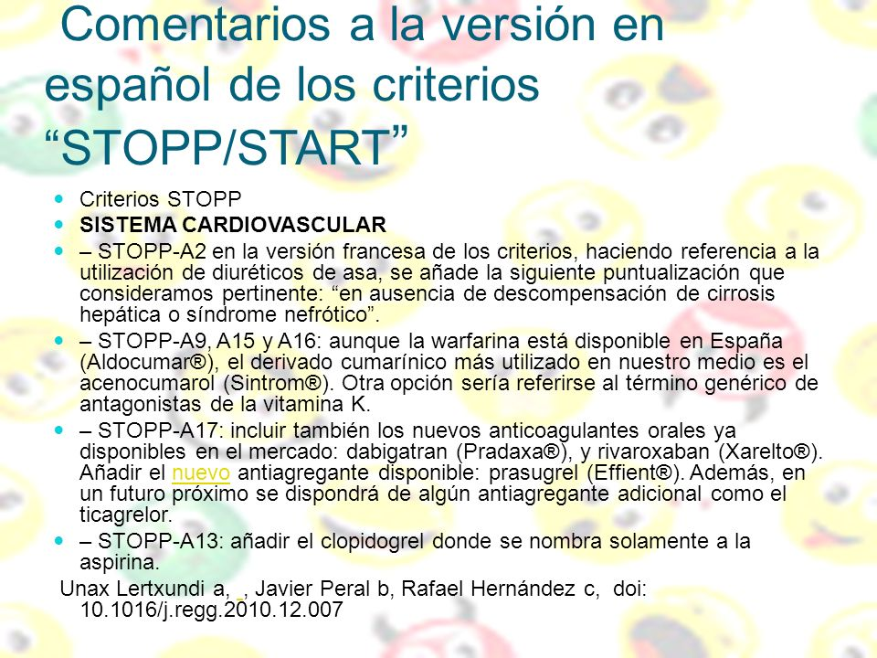 Comentarios a la versión en español de los criterios STOPP/START
