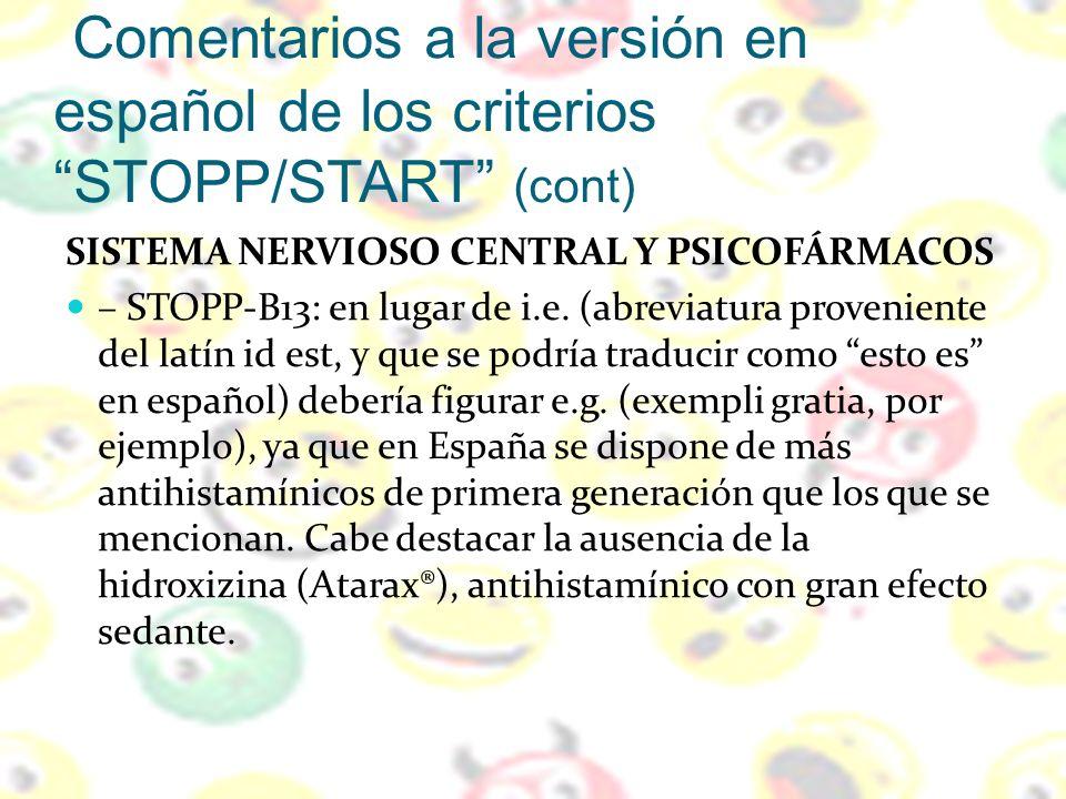 Comentarios a la versión en español de los criterios STOPP/START (cont)