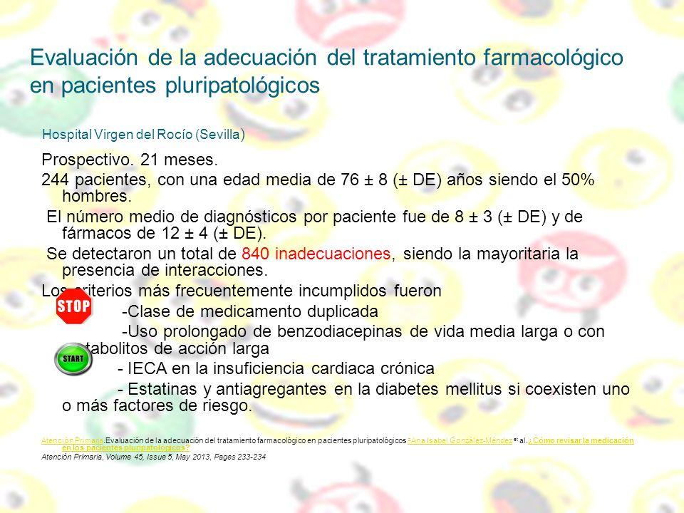 Evaluación de la adecuación del tratamiento farmacológico en pacientes pluripatológicos Hospital Virgen del Rocío (Sevilla)