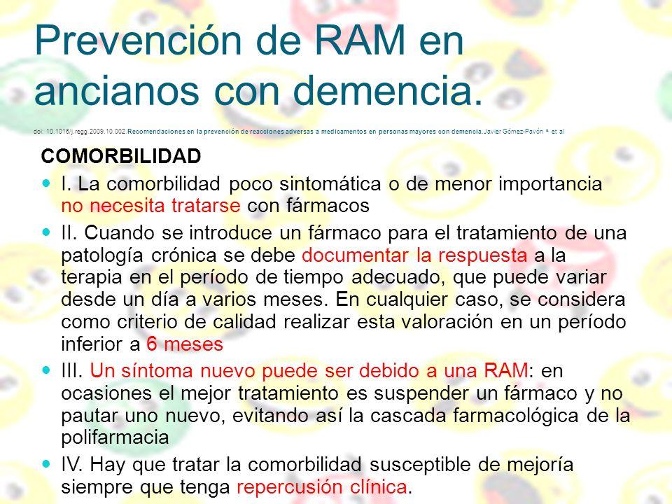 Prevención de RAM en ancianos con demencia. doi: 10.1016/j.regg.2009.10.002.Recomendaciones en la prevención de reacciones adversas a medicamentos en personas mayores con demencia.Javier Gómez-Pavón a, et al