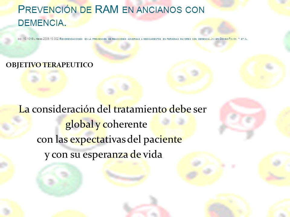 Prevención de RAM en ancianos con demencia.