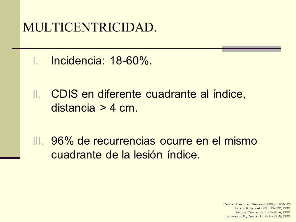 MULTICENTRICIDAD. Incidencia: 18-60%.