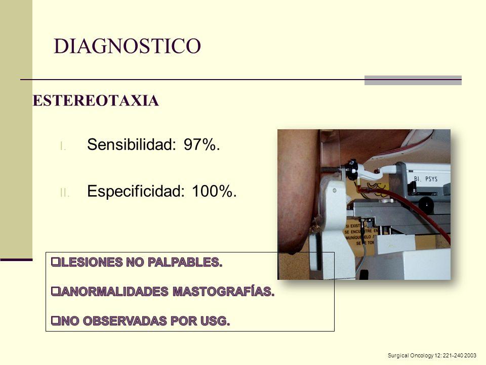 DIAGNOSTICO ESTEREOTAXIA Sensibilidad: 97%. Especificidad: 100%.