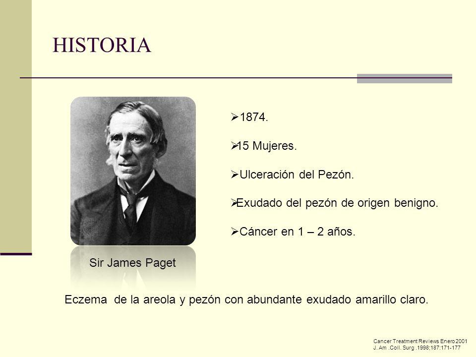 HISTORIA 1874. 15 Mujeres. Ulceración del Pezón.
