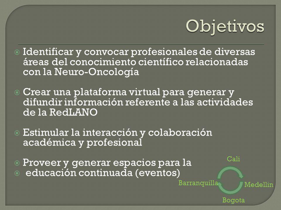 Objetivos Identificar y convocar profesionales de diversas áreas del conocimiento científico relacionadas con la Neuro-Oncología.