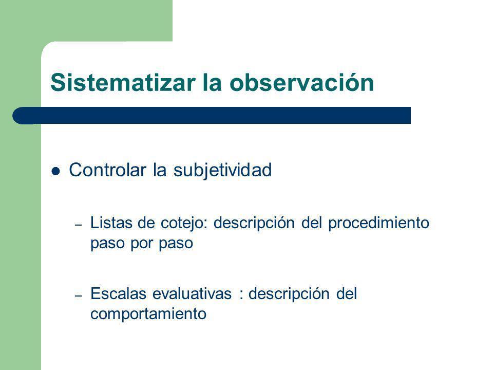 Sistematizar la observación