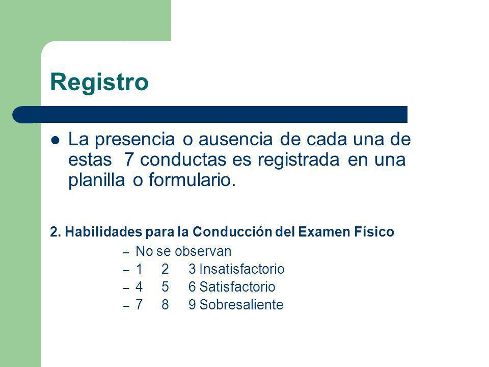 Registro La presencia o ausencia de cada una de estas 7 conductas es registrada en una planilla o formulario.