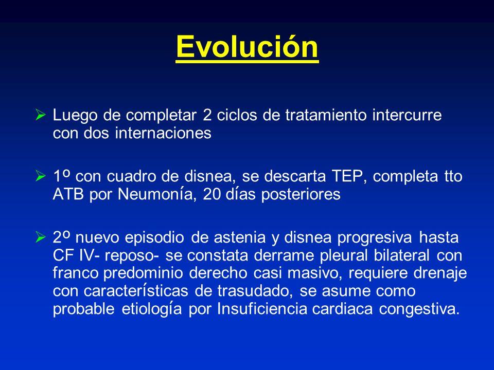 Evolución Luego de completar 2 ciclos de tratamiento intercurre con dos internaciones.