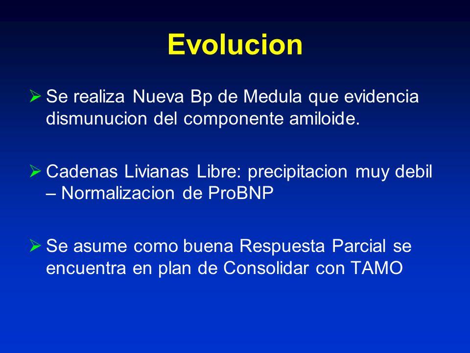 Evolucion Se realiza Nueva Bp de Medula que evidencia dismunucion del componente amiloide.
