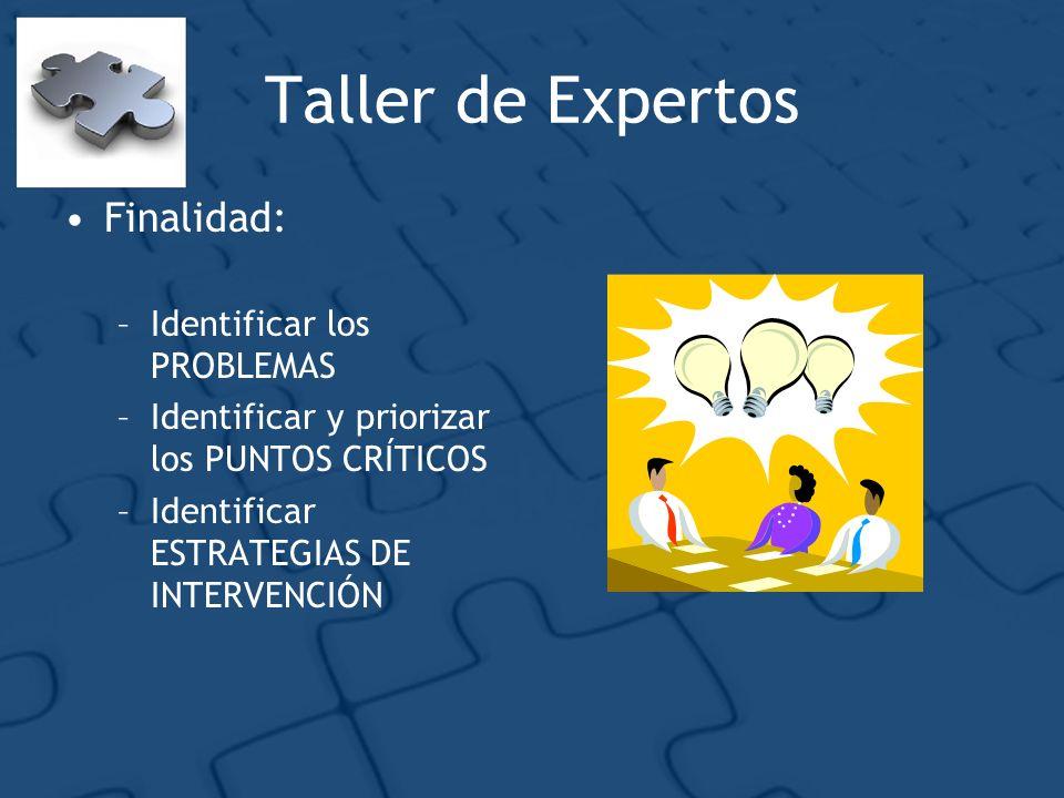 Taller de Expertos Finalidad: Identificar los PROBLEMAS