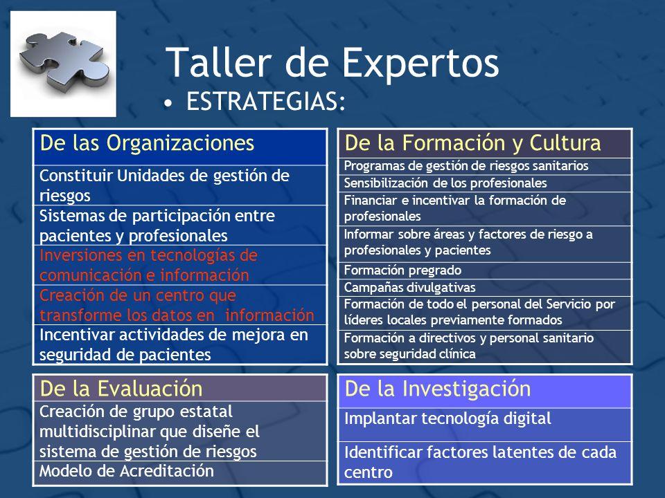 Taller de Expertos ESTRATEGIAS: De las Organizaciones
