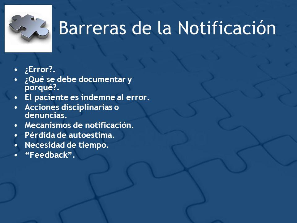 Barreras de la Notificación