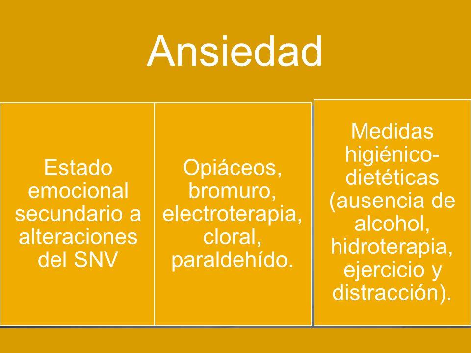 Ansiedad Medidas higiénico-dietéticas (ausencia de alcohol, hidroterapia, ejercicio y distracción).
