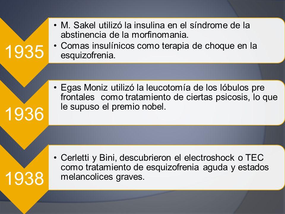 1935 M. Sakel utilizó la insulina en el síndrome de la abstinencia de la morfinomania. Comas insulínicos como terapia de choque en la esquizofrenia.