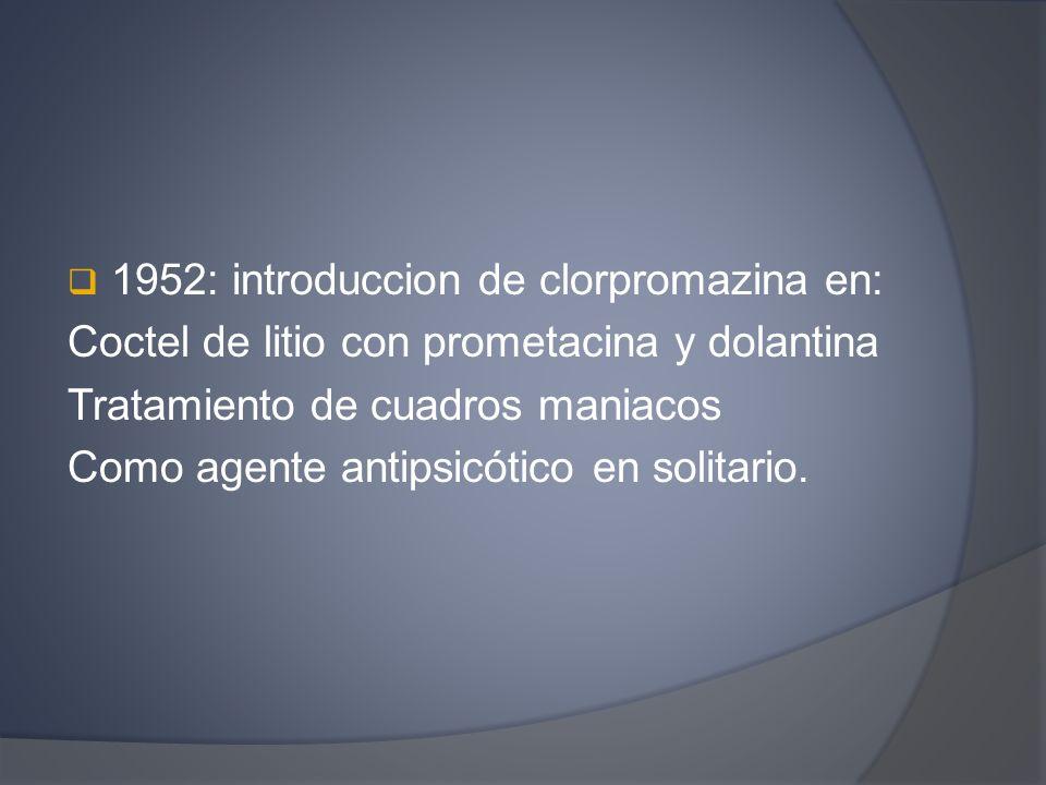 1952: introduccion de clorpromazina en: