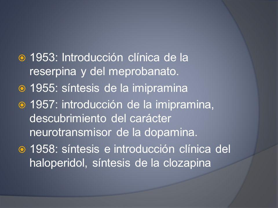 1953: Introducción clínica de la reserpina y del meprobanato.