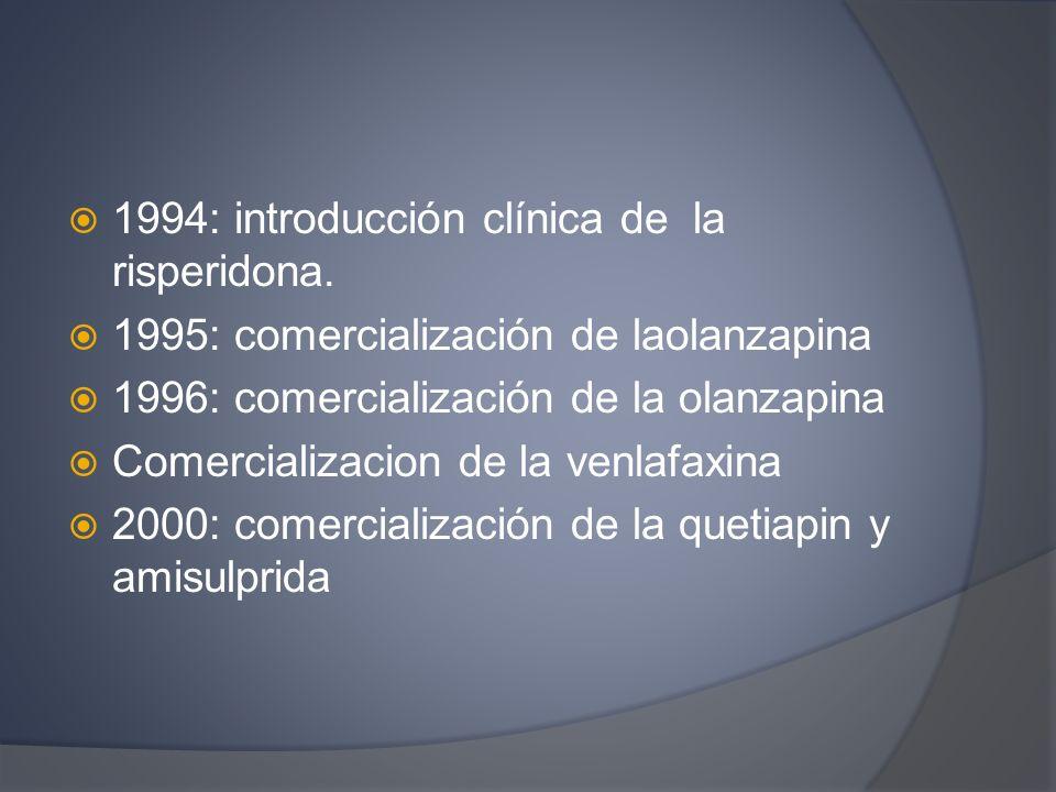 1994: introducción clínica de la risperidona.