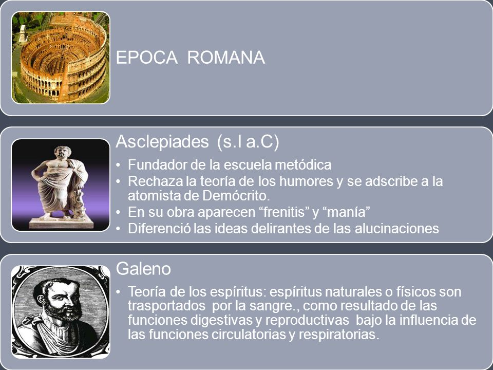 EPOCA ROMANA Asclepiades (s.I a.C) Galeno